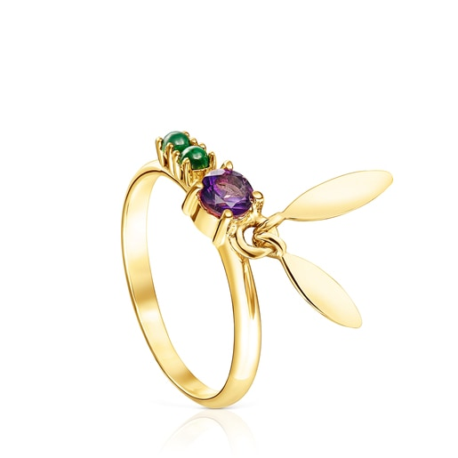 Silver Vermeil Fragile Nature leaves Ring with Gemstones