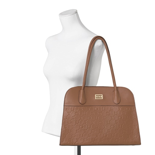 Brown Leather T Script City bag