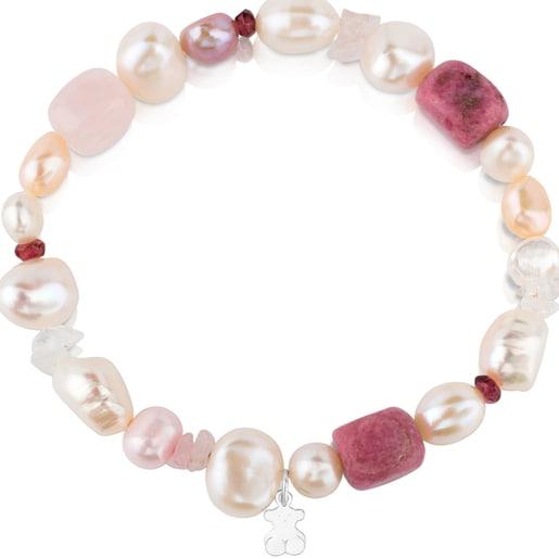 Pulsera TOUS Pearls de Plata con Perlas, Granates y Rodonitas