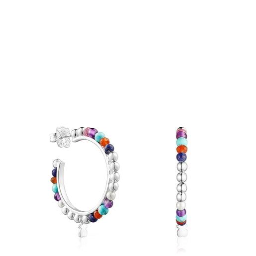 Silver Oceaan Color hoop Earrings with pearls and gemstones