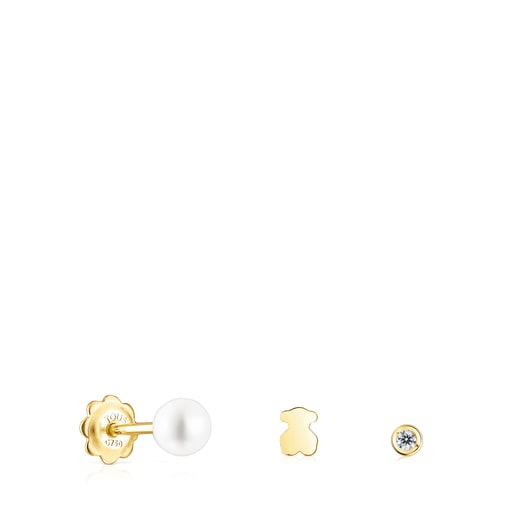 Pack of gold TOUS Pearl Piercings with diamond and pearl