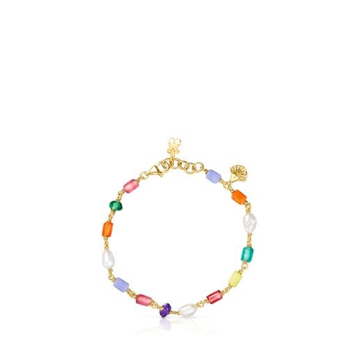 Bracelet Oceaan en argent vermeil, perles et glass multicolore