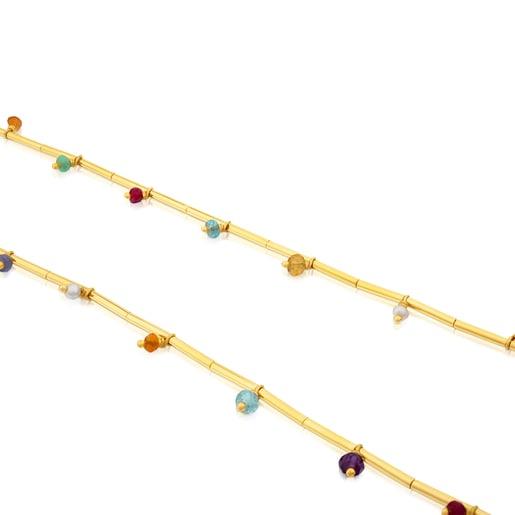 Collar Elise de Plata Vermeil, Gemas y Cordón en color marrón