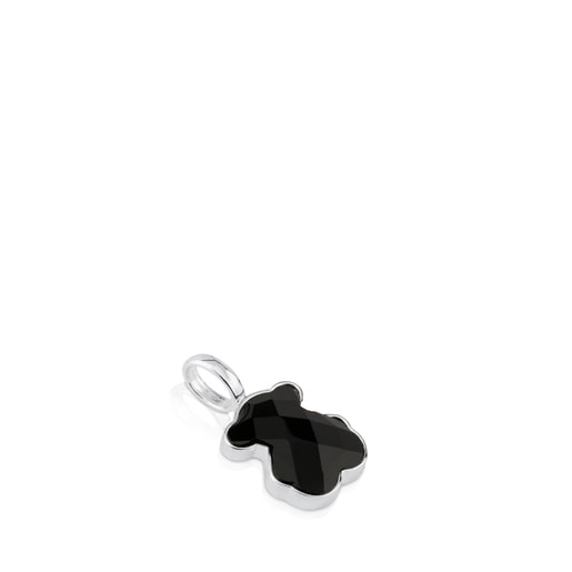 Silver TOUS Color Pendant with medium faceted onyx Bear motif