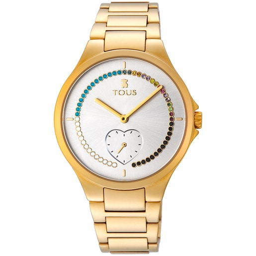 Gold-colored IP Steel heart Motion Straight Watch with crystals