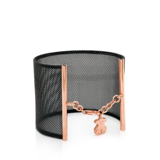 Pulsera Icon Mesh de Acero y Plata Vermeil rosa