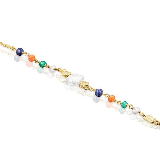 Armband Oceaan Color aus Vermeil-Silber mit Perle und Edelsteinen