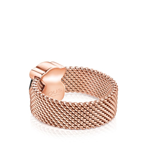 Rose IP Steel TOUS Mesh Color Ring with faceted Onyx Bear motif