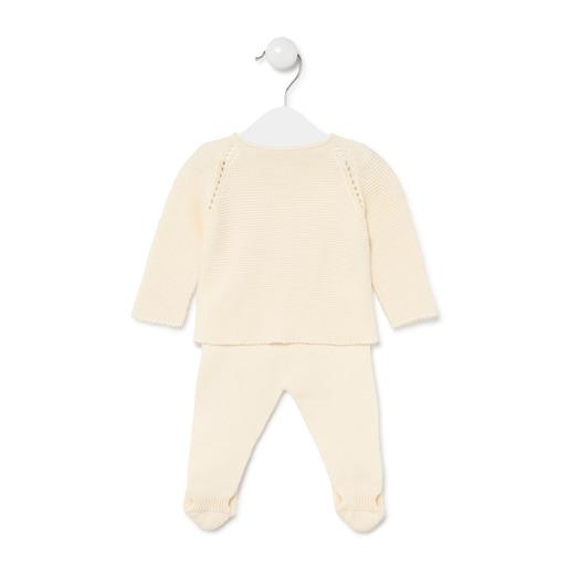 Conjunto de bebés recién nacido de tricot Crudo