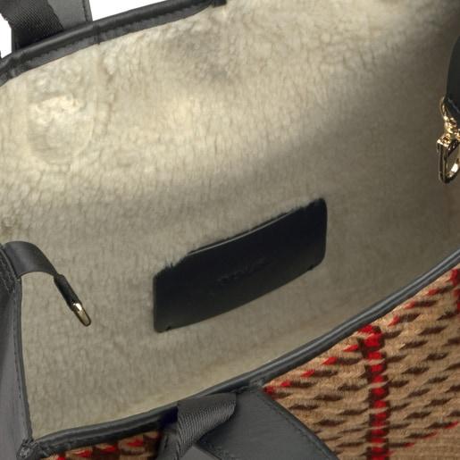 Capazo mediano Leissa reversible de piel multi-camel