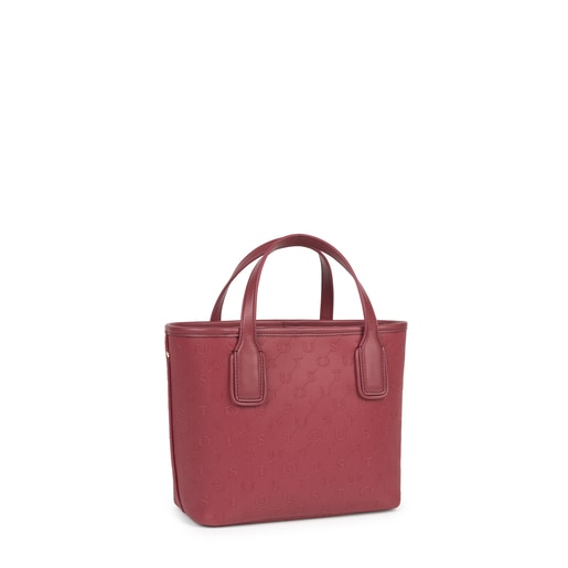 Small burgundy Script Day tote bag
