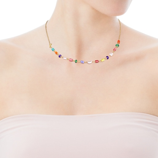 Silver vermeil Oceaan Necklace with pearls and multicolored glass