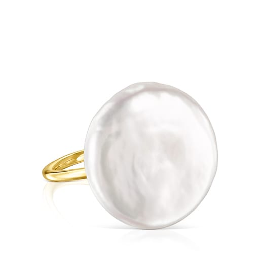 Silver Vermeil Nenufar petal Ring with Pearl