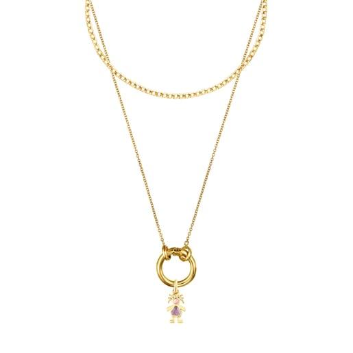 Conjunto de collares de plata vermeil Hold-niña