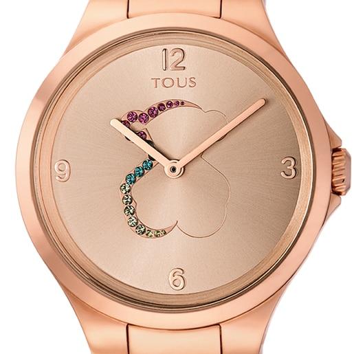 Reloj Motion de acero IP rosado con cristales de colores