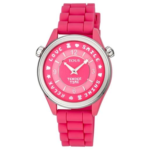 Reloj Tender Time de acero con correa de silicona rosa