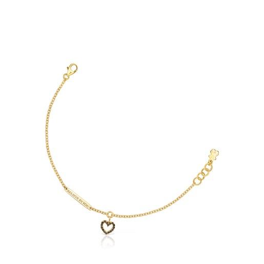 Silver Vermeil Valentine's Day heart Bracelet with Spinels