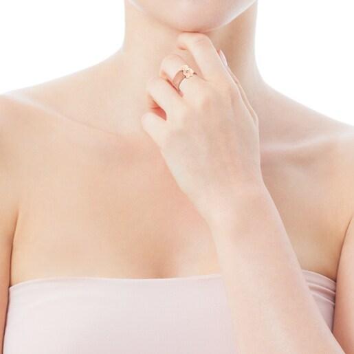 Anillo ancho Real Sisy de Acero IP rosado y Plata Vermeil rosa con Perla