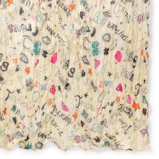 Plissierter Schal Samba aus beigefarbener und bunter Seide