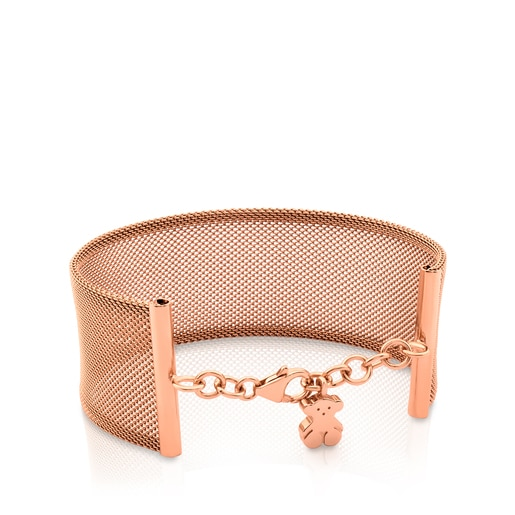 Pink Vermeil silver and Steel Icon Mesh Bracelet