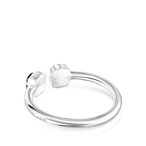 Anillo Mini Onix abierto de Plata con Ónix