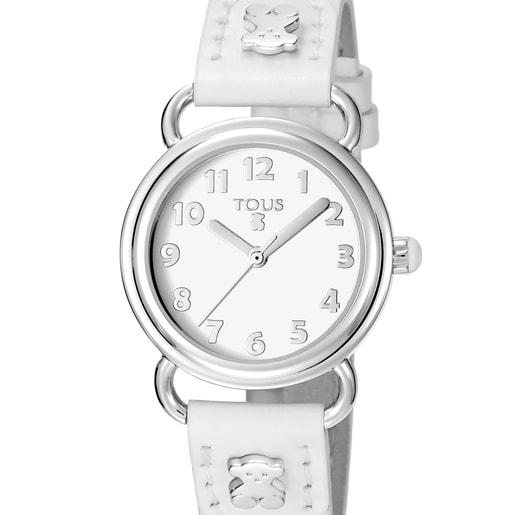Uhr Baby Bear aus Stahl mit weißem Lederarmband