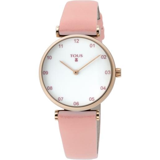 Reloj Camille de acero IP rosado con correa de piel rosa