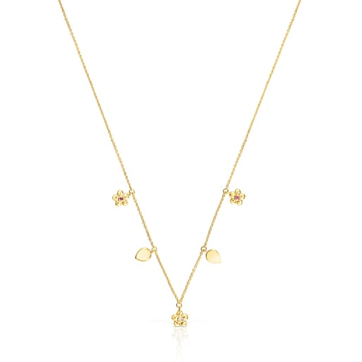 Gold Fragile Nature Necklace with Diamonds and Ruby