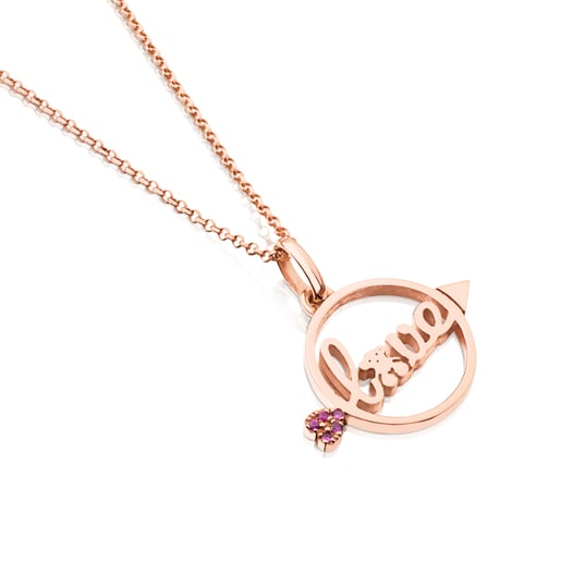 Rose Vermeil Silver San Valentin Necklace with Ruby