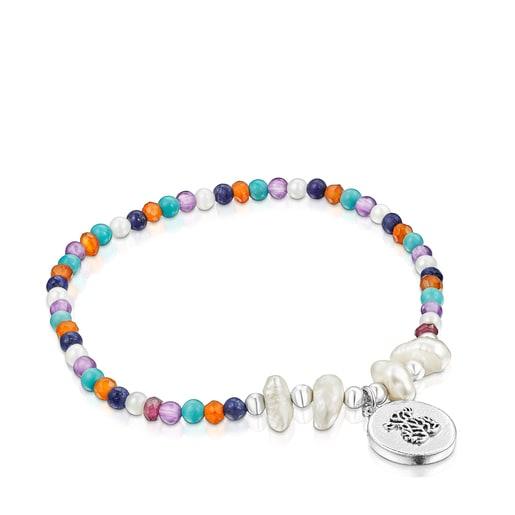 Oceaan Color Kamee-Armband aus Silber mit Perlen und Edelsteinen