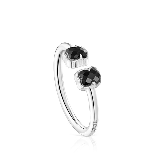 Mini Onix open Ring in Silver with Onyx