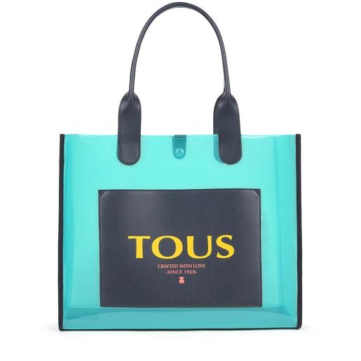 Large shopping bag Amaya Vinyl transparent blue