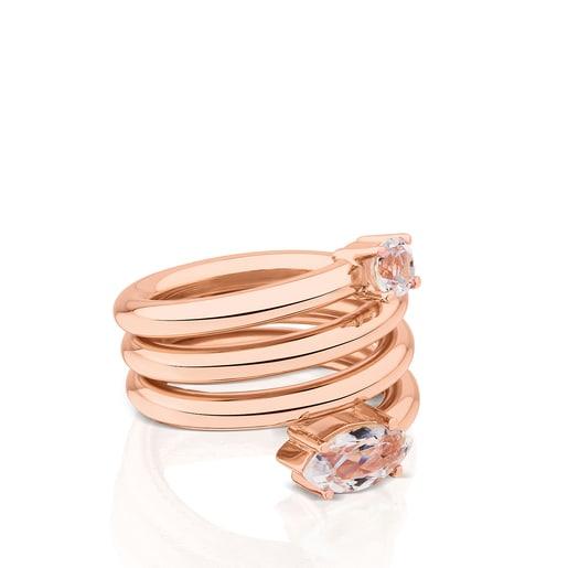 Rose Vermeil Silver Eklat Ring with Topaz