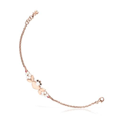 Rose Silver Vermeil Real Sisy Bracelet with Gemstones