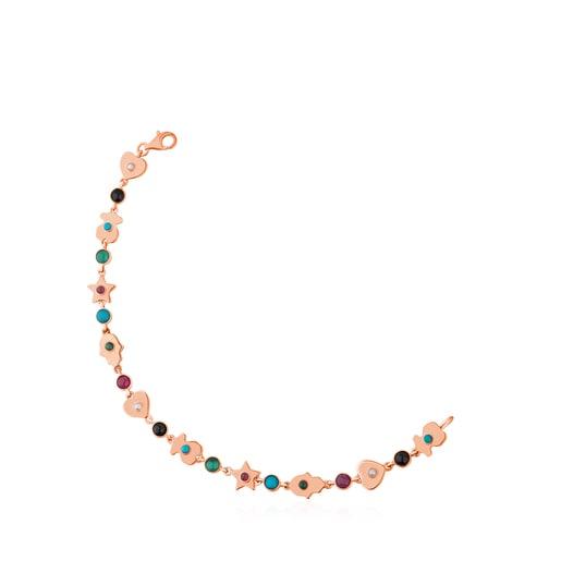 Pulsera de plata vermeil rosa con gemas Super Power