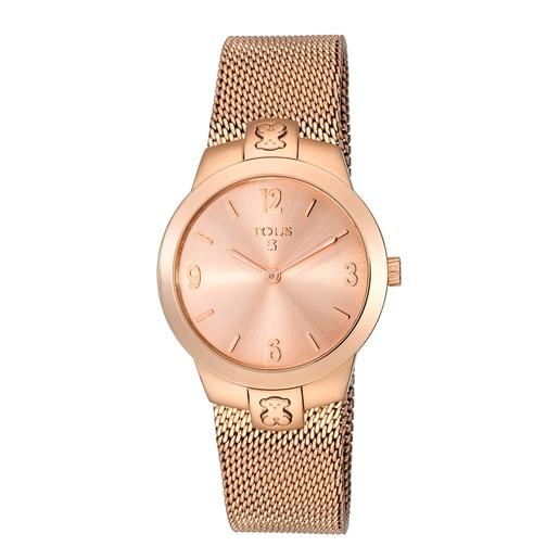 Reloj Tmesh small de acero IP rosado