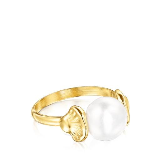 Anillo Oceaan conchas de oro y perla