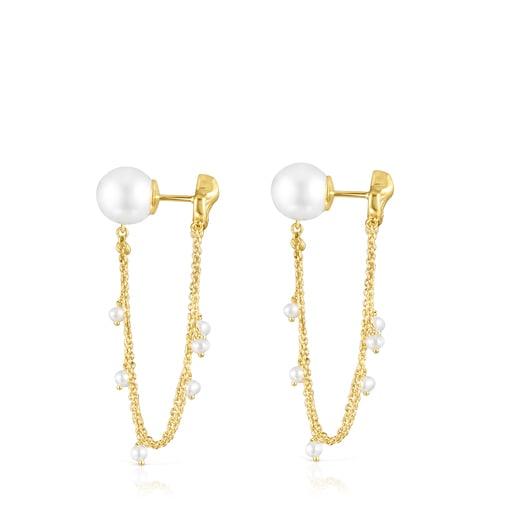 Pendientes largos conchas-cadenas de oro y perlas Oceaan