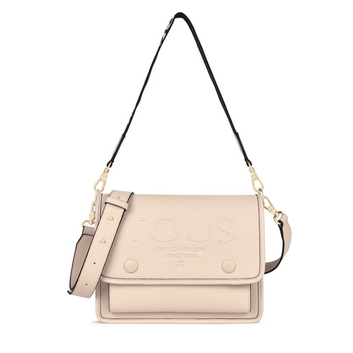 Medium beige Audree T POP crossbody bag