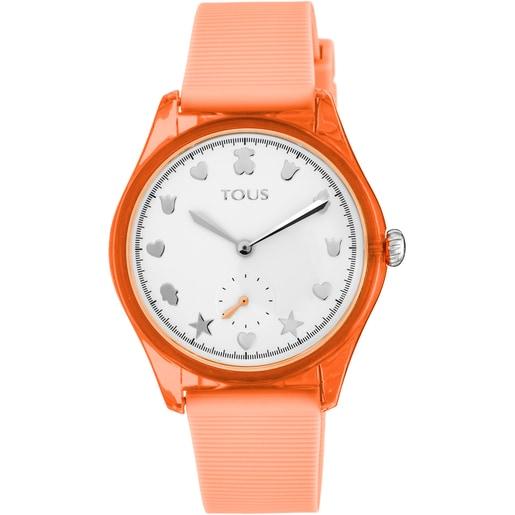 Relógio Free Fresh em Aço e Policarbonato com correia de Silicone coral