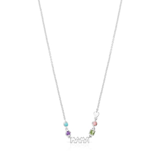 Silver TOUS Mama Necklace with Gemstones