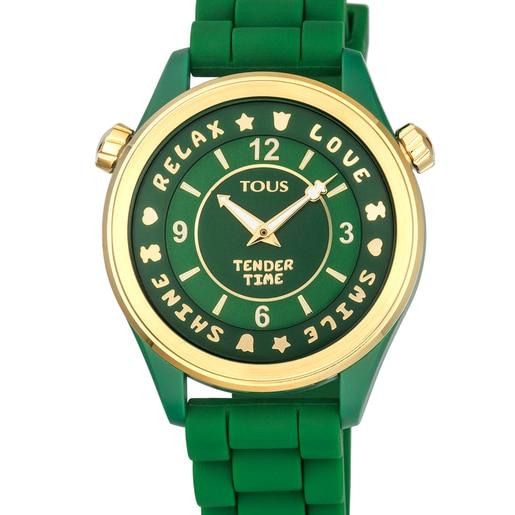 Relógio Tender Time em aço IP dourado com correia de silicone verde