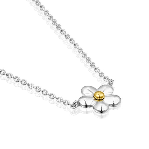 Two-tone Fragile Nature flower Necklace