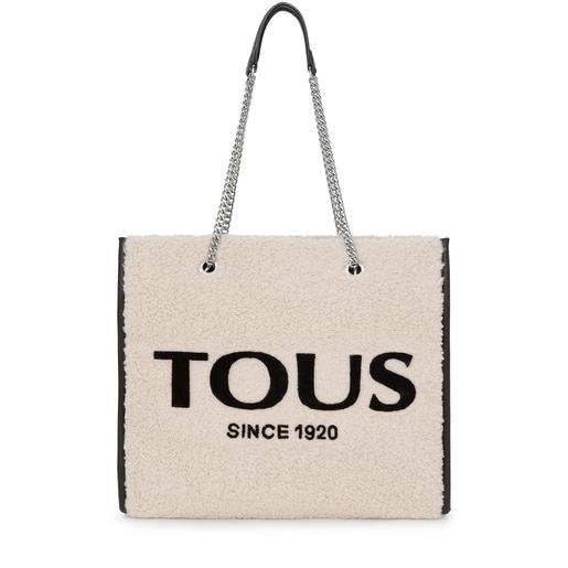Μεγάλη μπεζ τσάντα για Ψώνια Amaya Warm
