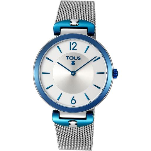 Reloj S-Mesh bicolor acero/IP azul