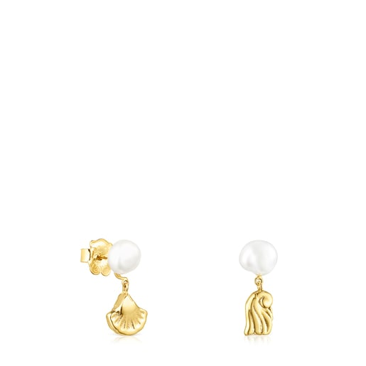Gold Oceaan shell-anemone Earrings with pearls