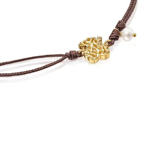 Pulsera de oro, perla y cordón Oceaan