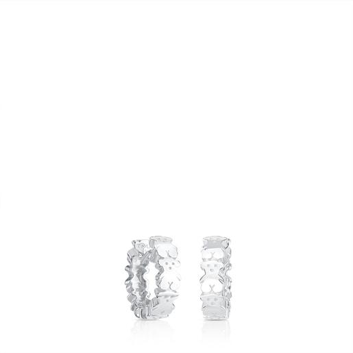 Silver TOUS Puppies hoop Earrings