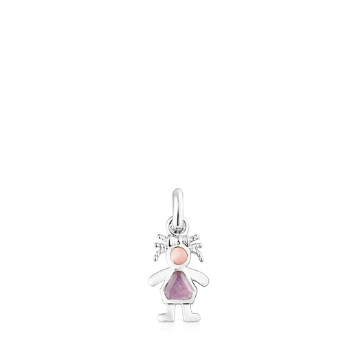 Silver TOUS Mama girl bow Pendant with Gemstones