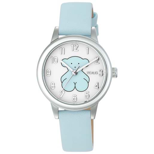 Steel New Muffin Watch with blue Leather strap